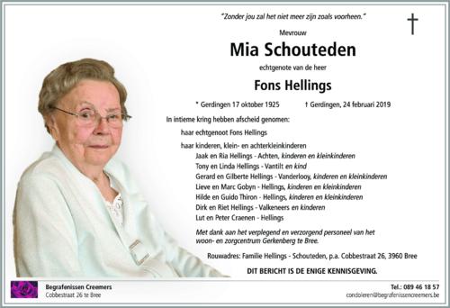 Mia Schouteden († 24/02/2019)