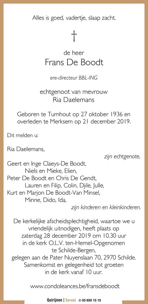 Frans De Boodt 21 12 2019 Inmemoriam